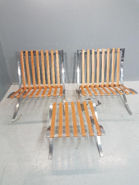 Réalisation des sangles en cuir végétal fauteuil Barcelona