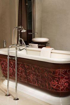Gainage baignoire Art Déco en cuir imprimé + cuir lisse