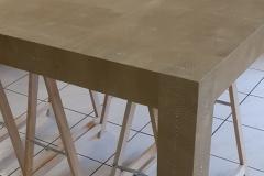 Table basse gainée en cuir imprimé façon Galuchat
