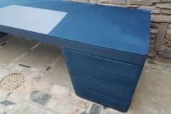 Gainage bureau direction Cuir lisse et Nubuk coloris bleu