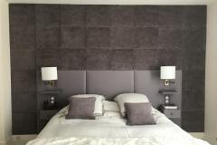 Réalisation d'un ensemble Mural ,Tête de lit en cuir + Panneaux en tissus