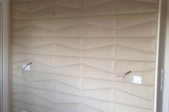 Mur gainé panneaux cuirs beige